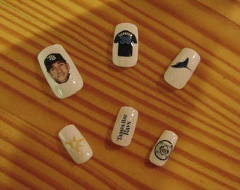Kevin Kiermaier 100+ nail sticker decals, Tampa Bay Rays