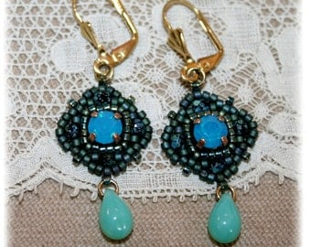 Earrings Collection Antique, green turquoise, medieval, renaissance, Eastern inspiration