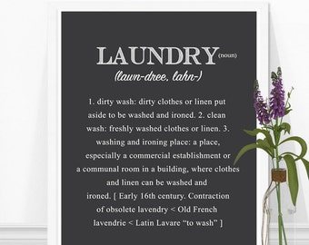 Laundry Definition Print - Laundry Room Art - Laundry Room Decor - Laundry Print, Laundry Room Wall Art, Grey