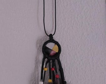 painted leather  Medicine wheel pendant