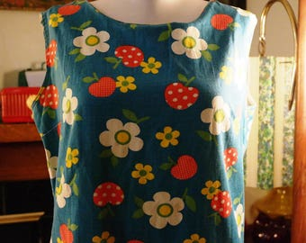 Vintage 1960s Cotton Culotte Dress in Happy Blue and Purple Floral w/ Strawberries- Super Cute Skirt/Shorts in One! Get Flower Power Now!