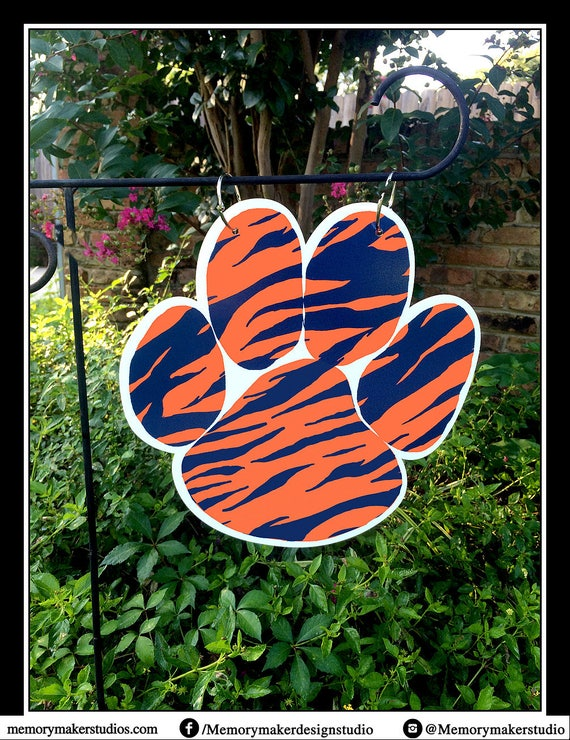 Auburn Tigers Paw Print Lawn And Garden Flag, Tiger Print Garden Flag,  Orange And Blue Yard Flag, Auburn Garden Flag, Auburn Yard Flag