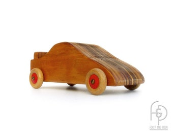 Toy Car Laminated Wood 90's Sports Coupe Made in England by C E