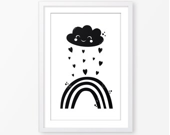 Kids poster,black and white poster,Scandinavian style,cloud poster,rainbow poster,nursery poster,kids room decor,nursery printable,baby art