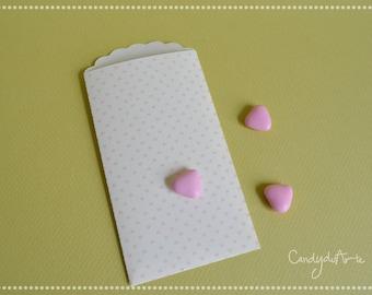"Paper bags for ""confettata""-ivory Envelopes-envelopes for confetti-Pink Hearts Envelopes"