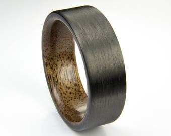 Carbon Fiber ring with Walnut wood liner