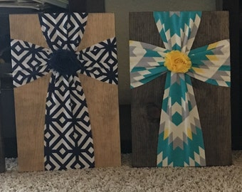 Wood Fabric Cross