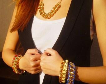 Chain Link Bracelet Chunky Chain Bracelet Chain Stacking Bracelet Suede Cord Bracelet Silver Chain Bracelet Arm Candy Friendship Bracelet