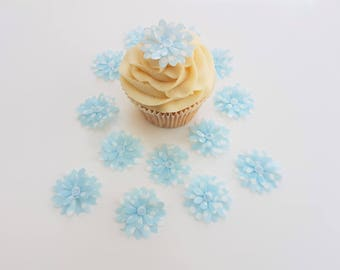 14 Edible Spotty Blue 3D Wafer Flowers Cupcake Toppers Precut