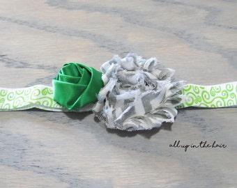 Green Baby Headband - Grey Baby Headband - Green Infant Headband