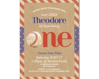 1st Birthday Party 5x7 Invitation - Swing On By - Baseball - Red, White and Blue - Printable and Personalized