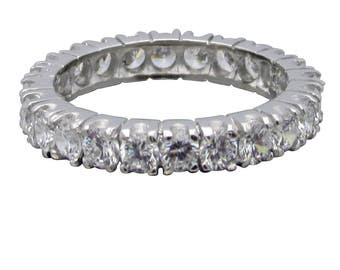 ITEM R26335 14K Yellow or White Gold 1.7ct Total Solid Gold Round Prong Set Eternity Band Ring
