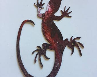 Hand Painted metal lizard yard art garden decor.