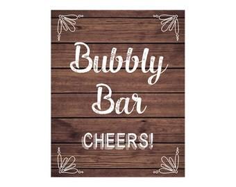 Bubbly Bar Sign, Rustic Wood Sign, DIY Printable JPEG PDF Instant Download220