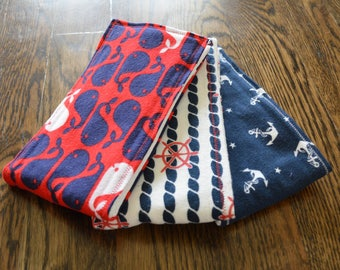 Burp Cloths-Set of 3-Red, White, and Navy Nautical Prints!