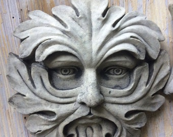 Green man leaf face round wall plaque