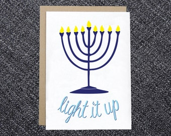 Hanukkah Card - Light it Up Menorah - Holiday Card, Chanukah Card, Funny Hanukkah Card, Happy Hanukkah Card
