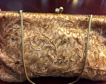 Gorgeous Embroidered Antique Evening Bag, Made In Belgium, Satin Lining.