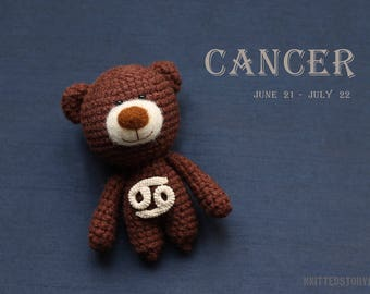 Cancer zodiac teddy bear - crochet zodiac toy, Cancer birthday present, horoscope Cancer gift, Cancer star sign - MADE TO ORDER