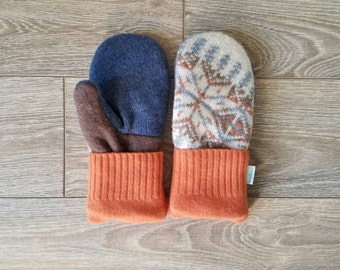 Orange and Blue Sweater Mittens //LoveWoolies Mittens //Fleece Lined