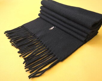 """Polo Ralph Lauren Scarf Lambswool Colored Pony Solid Theme Black Vintage Muffler Foulard Shawl Wrap Made In Italy 65"""" X 11.5"""""""