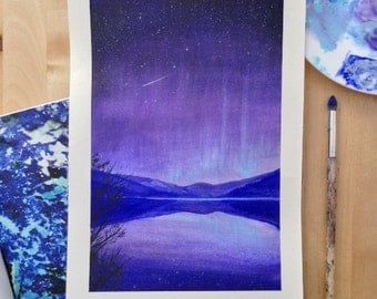 Aurora Nightscape 1. 'Blue Mountains.' Original Painting - Acrylic on Watercolour Paper