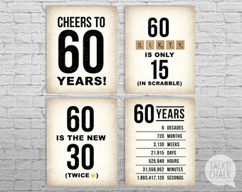 60th Birthday PRINTABLE Sign Pack, 60th Birthday DIGITAL Posters, Cheers to 60 Years Sign, 40th Birthday Decorations, Instant Download