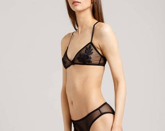 Black mesh transparent lingerie set - transparent underwear - transparent black bra - transparent panties - black lingerie - black underwear