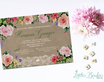 Flowers and Burlap Wedding Shower Invitation