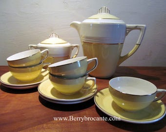 Art deco colibri tea service, French vintage tea set.