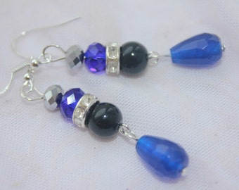 Navy blue earrings drop earrings crystal jewelry blue agate earrings blue gemstone natural gemstone agate earrings costume earrings