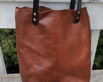 Rustic Leather Tote, handmade leather tote, distressed leather tote bag handmade