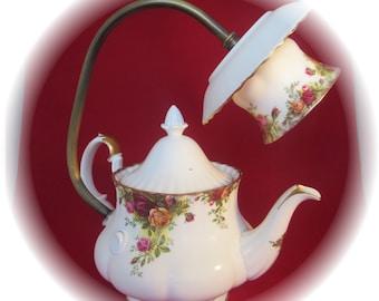 large Royal albert teapot lamp 9v battery