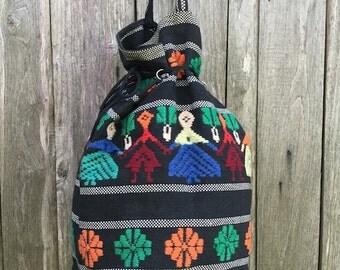Bag Vintage/ 90s/ ethnic motif/ shoulder bag/ cloth/ black/ multicolor/ bag model