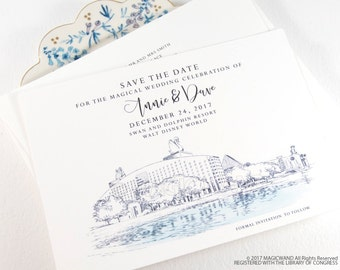 Swan and Dolphin Resort Save the Dates, Destination Wedding, Orlando Wedding, Orlando Save the Date, Disney World, STD (set of 25 cards)