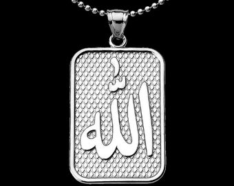 Allah الله Sterling Silver Pendant Necklace Prophet Muhammad . Arabic God Pendant . Muslim Islam Jewelry . Gift for Islamic Men Man Jewelry