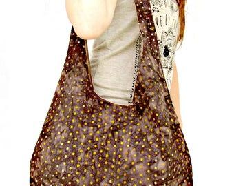 Brown Hobo Bag , Boho Bag, Over The Shoulder Bag, Batik Tote Bag, Slouch Bag, Purse.