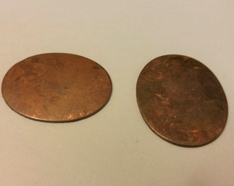 """Oval Copper blanks 1 1/16"""" x 1 5/16"""" shapes, stampings, blanks for enamel or jewelry   2 pieces"""
