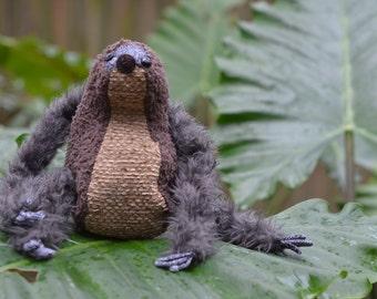 Clawdine-- Stuffed sloth doll, handmade & one of a kind