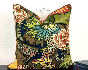 Mocha Chiang Mai Dragon Pillow cover - Customize to fit YOUR decor - Piped finish - Schumacher - Linen Back