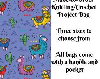 Knitting Project Bag, Happy Llamas in Orange, Sock Knitting, Zippered Bag, Crochet Bag, Sweater Project Bag, Large Bag