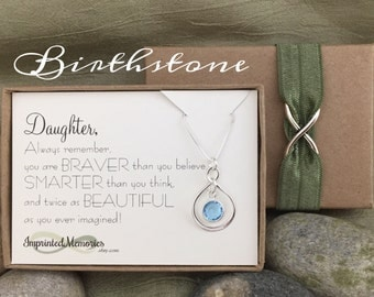 Birthday Gift for DAUGHTER - Gift for Her Sterling Silver Birthstone Necklace Graduation gift for Daughter Birthday Sweet 16 18th 20th 30th