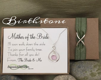 Mother of the BRIDE Gift Necklace - Sterling Silver Crystal - Thank You Gift Wedding Parent Gift from Bride and Groom - Mother of the Groom