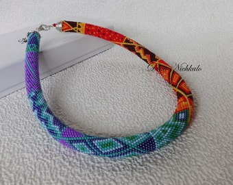 Bead Crochet Necklace Gypsy Jewelry Boho Jewelry Multicolored Necklace Beadwork Necklace Crochet with beads Crochet Bead Necklace Unique