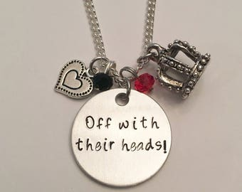 Off With Their Heads Red Queen Alice in Wonderland Mad Hatter Disney Inspired Stamped Charm Necklace