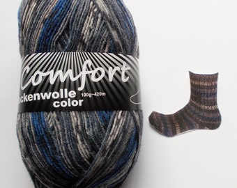 sock yarn 100g (6,-Euro/100g), gray-blue patterned, 4ply (1216b.06)