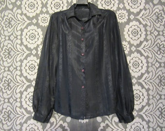 Silky Paisley Stripe Black Button Up Blouse Shirt with Pretty Pink Purply Buttons Granny Chic Goth Victorian Lolita Punk Grunge 70s 80s