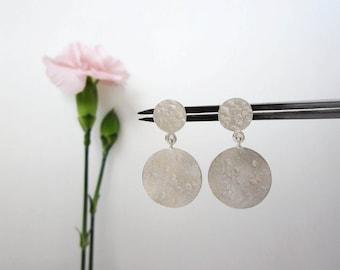 GLORIA Dangling Earrings - Silver Disc Earrings - Sterling Sphere Earrings - Big Drop Earrings - Coin Dangle Earrings - Statement Earrings