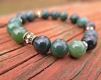Green Earth Stone Bead Bracelet