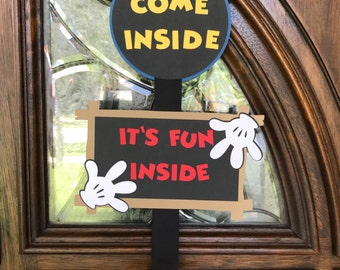 Mickey Mouse Door Sign Mickey Welcome Sign Mickey Party Decor Come Inside It's Fun Inside Mickey Mouse Clubhouse Decorations Boy Birthday